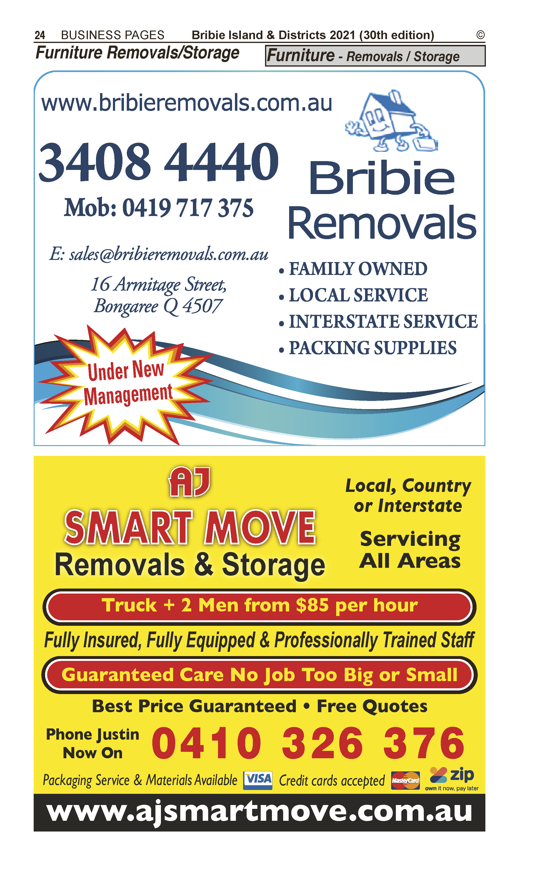 AJ Smart Move Removals & Storage | Furniture – Removals in Caboolture | PBezy Pocket Books local directories - page 24