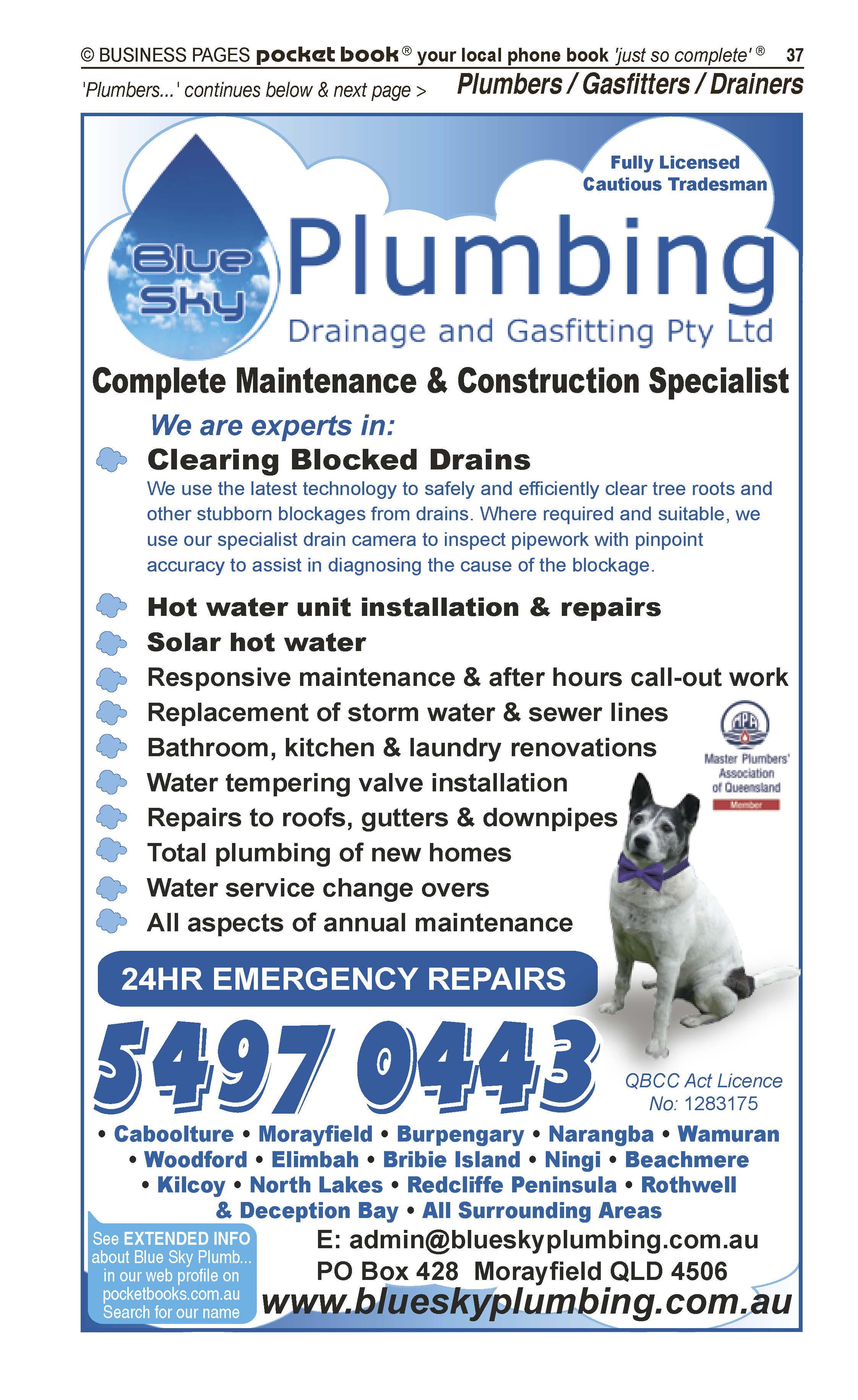 Blue Sky Plumbing Drainage & Gasfitting | Plumbers in Caboolture | PBezy Pocket Books local directories - page 37