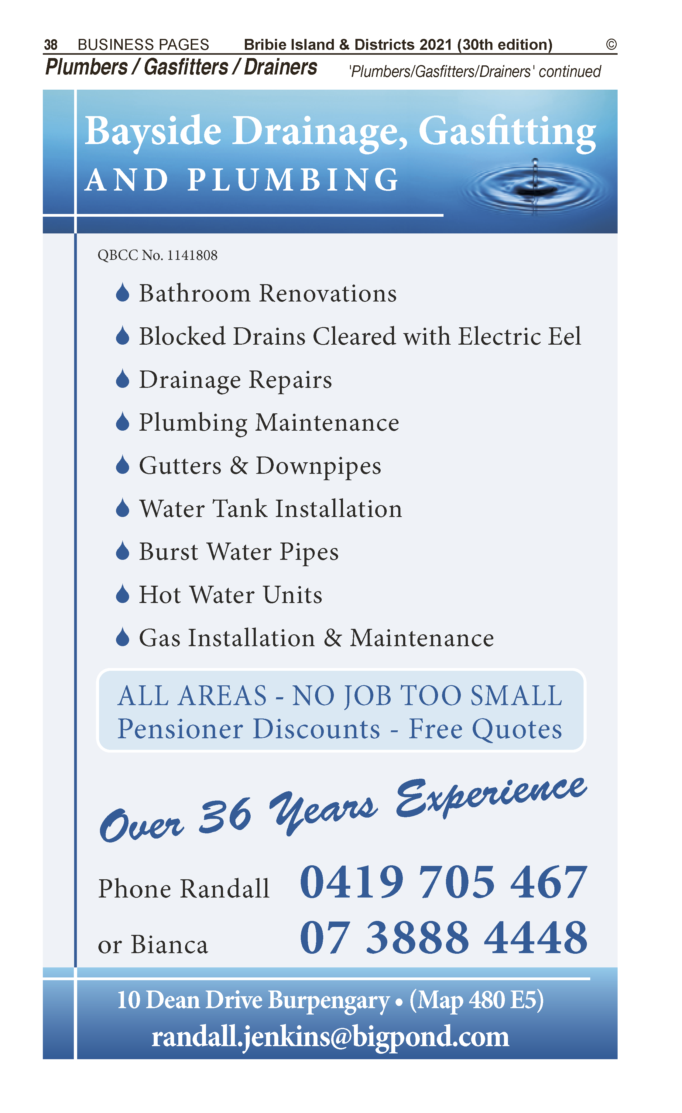 Bayside Drainage, Gasfitting & Plumbing   Gasfitters in Burpengary   PBezy Pocket Books local directories - page 38
