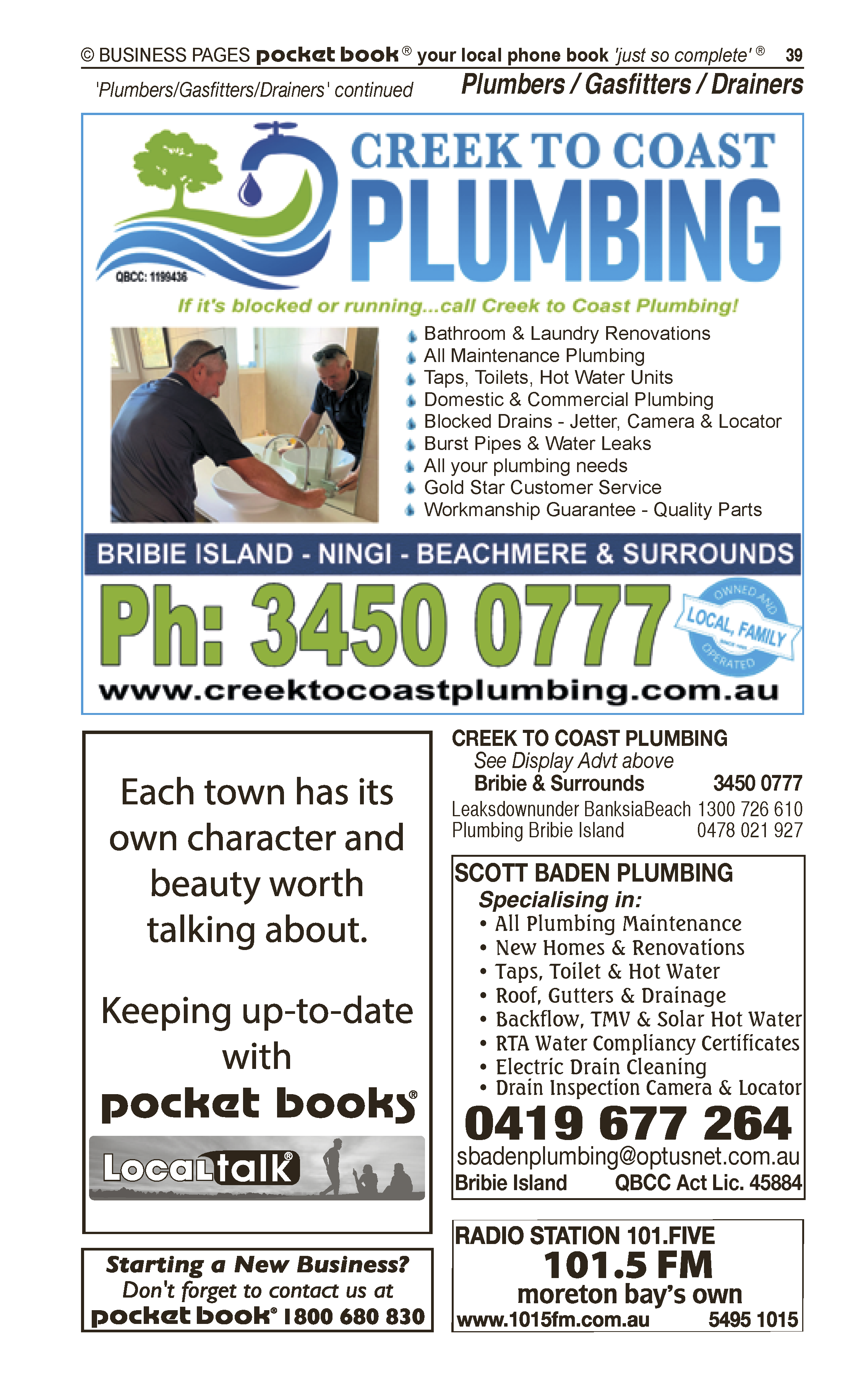 Creek To Coast Plumbing | Gasfitters in Upper Caboolture | PBezy Pocket Books local directories - page 39