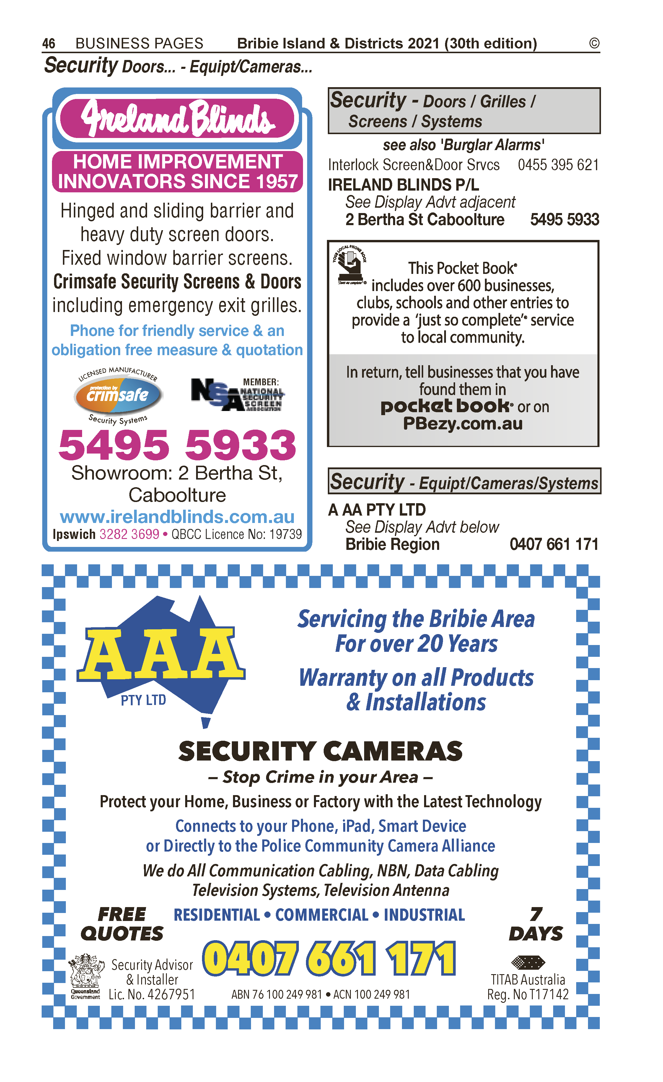 AAA Pty Ltd | Security – Equipment in Bribie Island | PBezy Pocket Books local directories - page 46