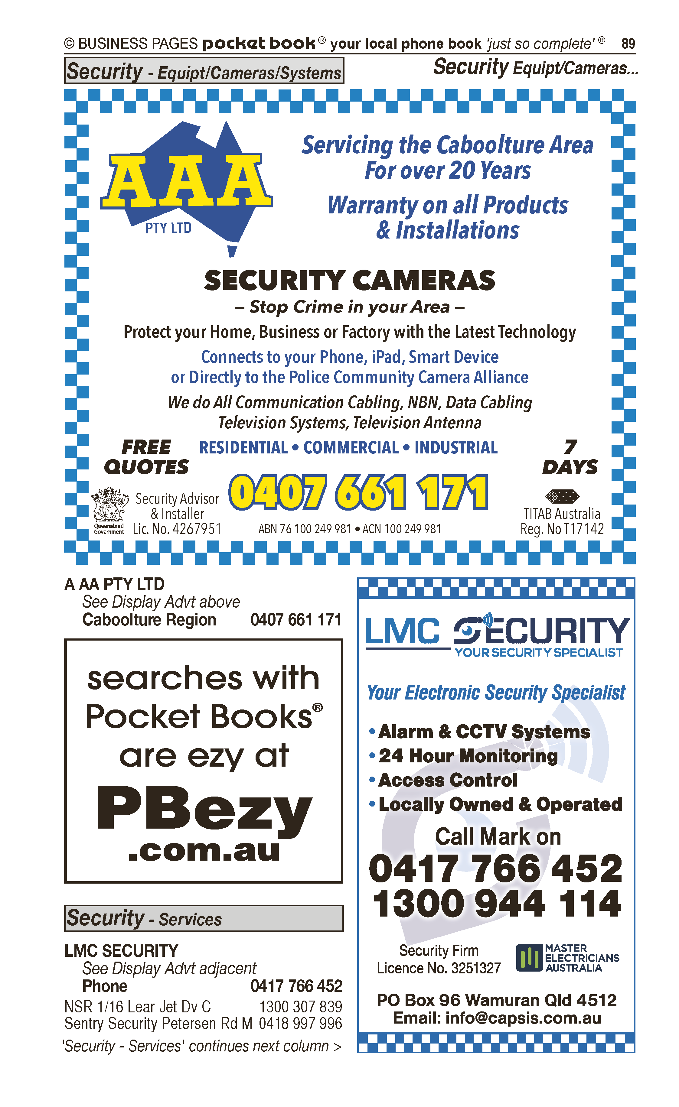 AAA Pty Ltd | Security – Equipment in Caboolture | PBezy Pocket Books local directories - page 89