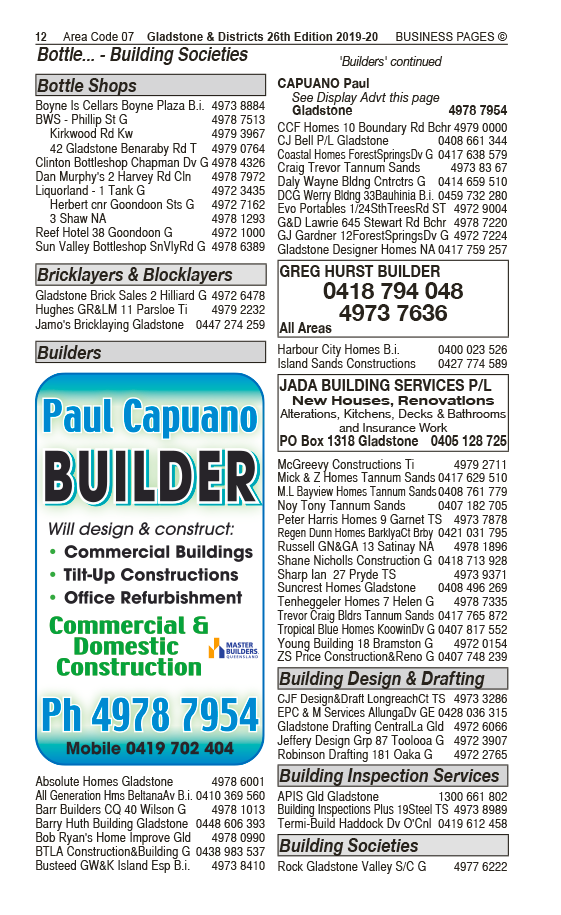 Jada Building Services Pty Ltd | Builders & Building Consultants in Yarwun | PBezy Pocket Books local directories - page 12