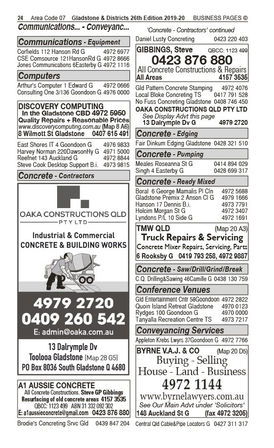 A1 Aussie Concrete | Concrete Contractors & Concretors in Gladstone | PBezy Pocket Books local directories - page 24