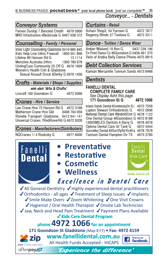 Fanelli Dental Complete Family Care | Dentists in Gladstone | PBezy Pocket Books local directories - page 25