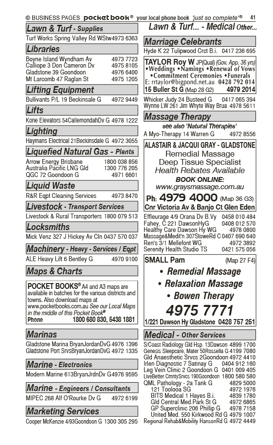 Alistair & Jacqui Gray – Gladstone | Massage Therapy in Gladstone | PBezy Pocket Books local directories - page 41