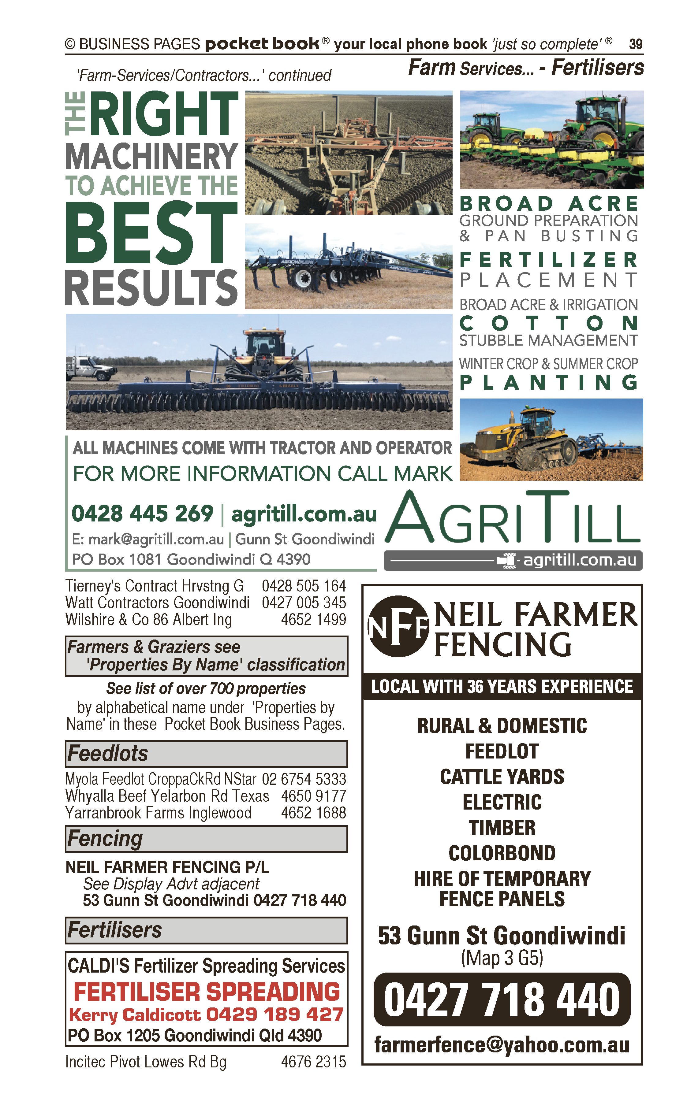 L Bulmer & Co Pty Ltd | Excavating & Earth Moving Services in Goondiwindi | PBezy Pocket Books local directories - page 39