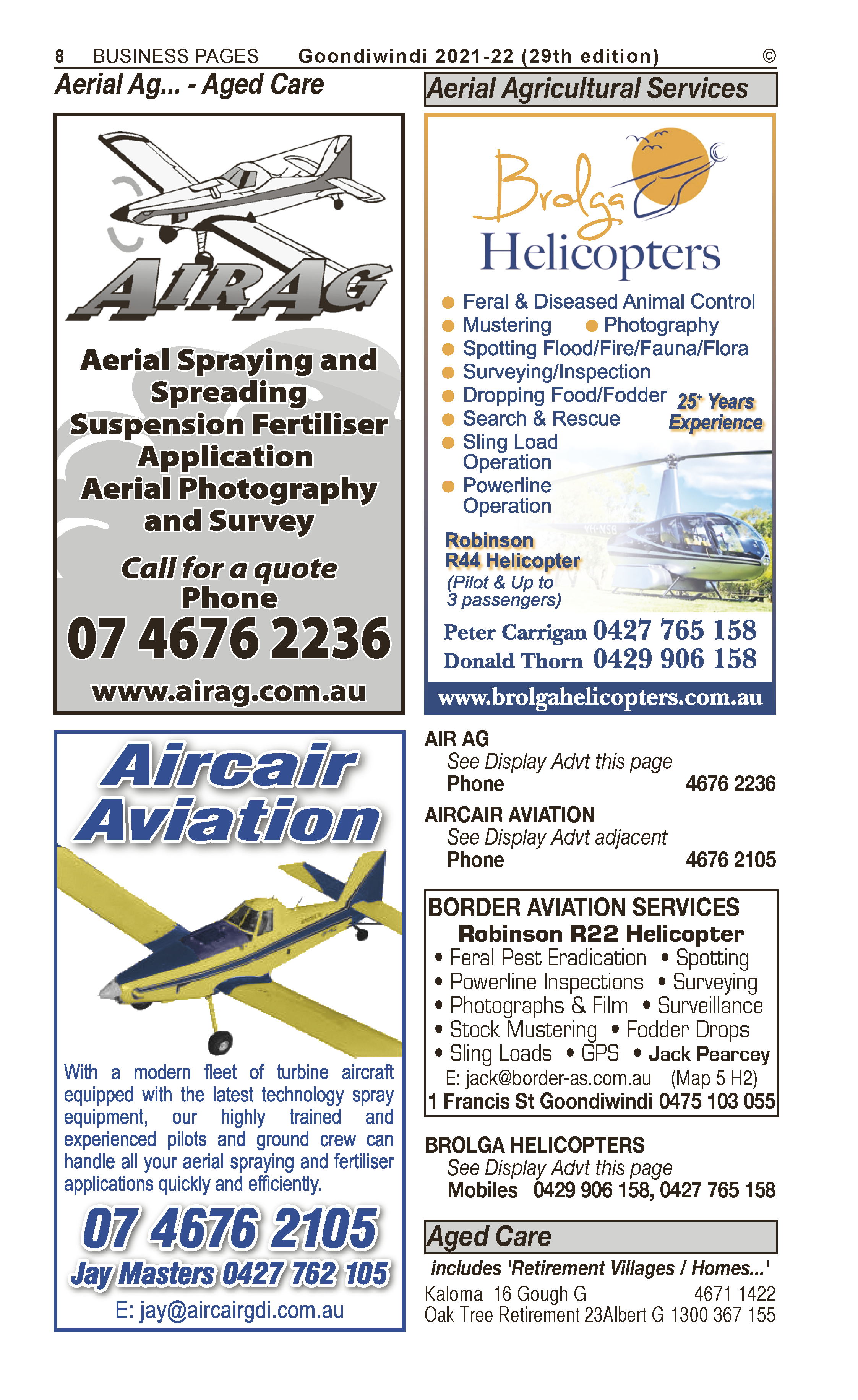 Aircair Aviation | Aerial Agricultural Services  in Goondiwindi | PBezy Pocket Books local directories - page 8