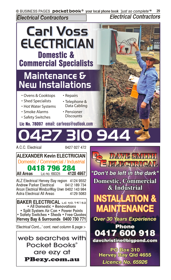 Alexander Kevin Electrician | Electrical Contractors in Pialba | PBezy Pocket Books local directories - page 29