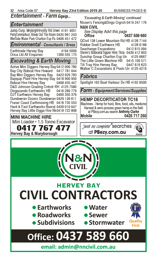 N & N Civil | Excavating & Earth Moving Services in Hervey Bay | PBezy Pocket Books local directories - page 32