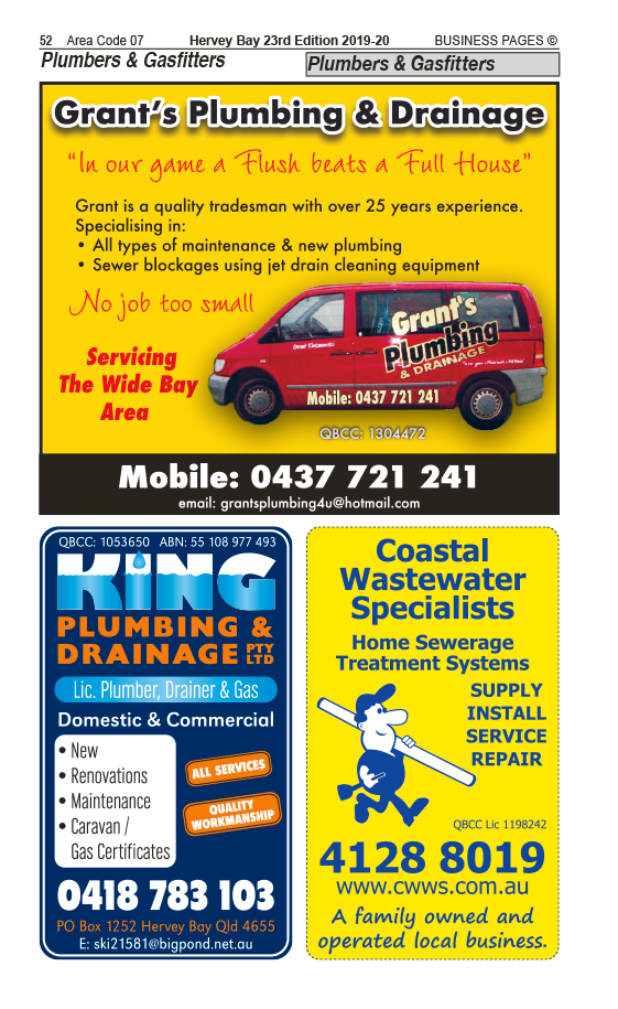 Grant's Plumbing & Drainage | Plumbers, Gasfitters, Drainers in Hervey Bay | PBezy Pocket Books local directories - page 52