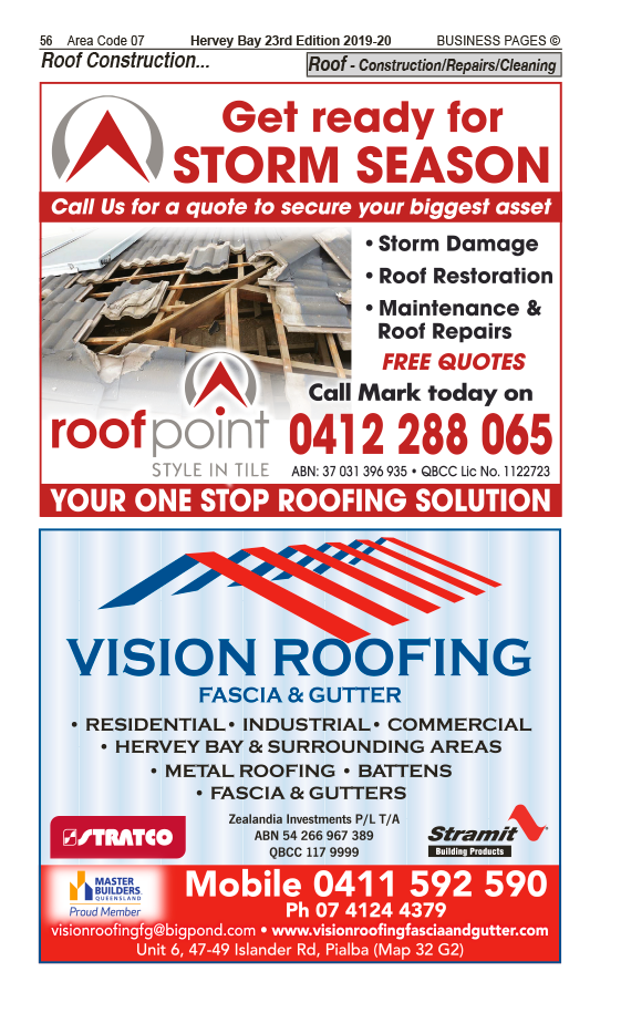 Roofpoint | Roof Construction, Repairs, Cleaning in Hervey Bay | PBezy Pocket Books local directories - page 56