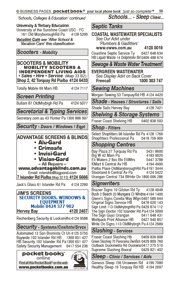 Advantage Screens & Blinds | Blinds & Awnings in Pialba | PBezy Pocket Books local directories - page 59