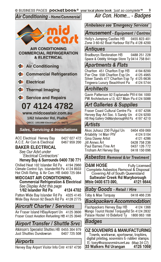 Baker Electrical | Electrical Contractors in Hervey Bay | PBezy Pocket Books local directories - page 9