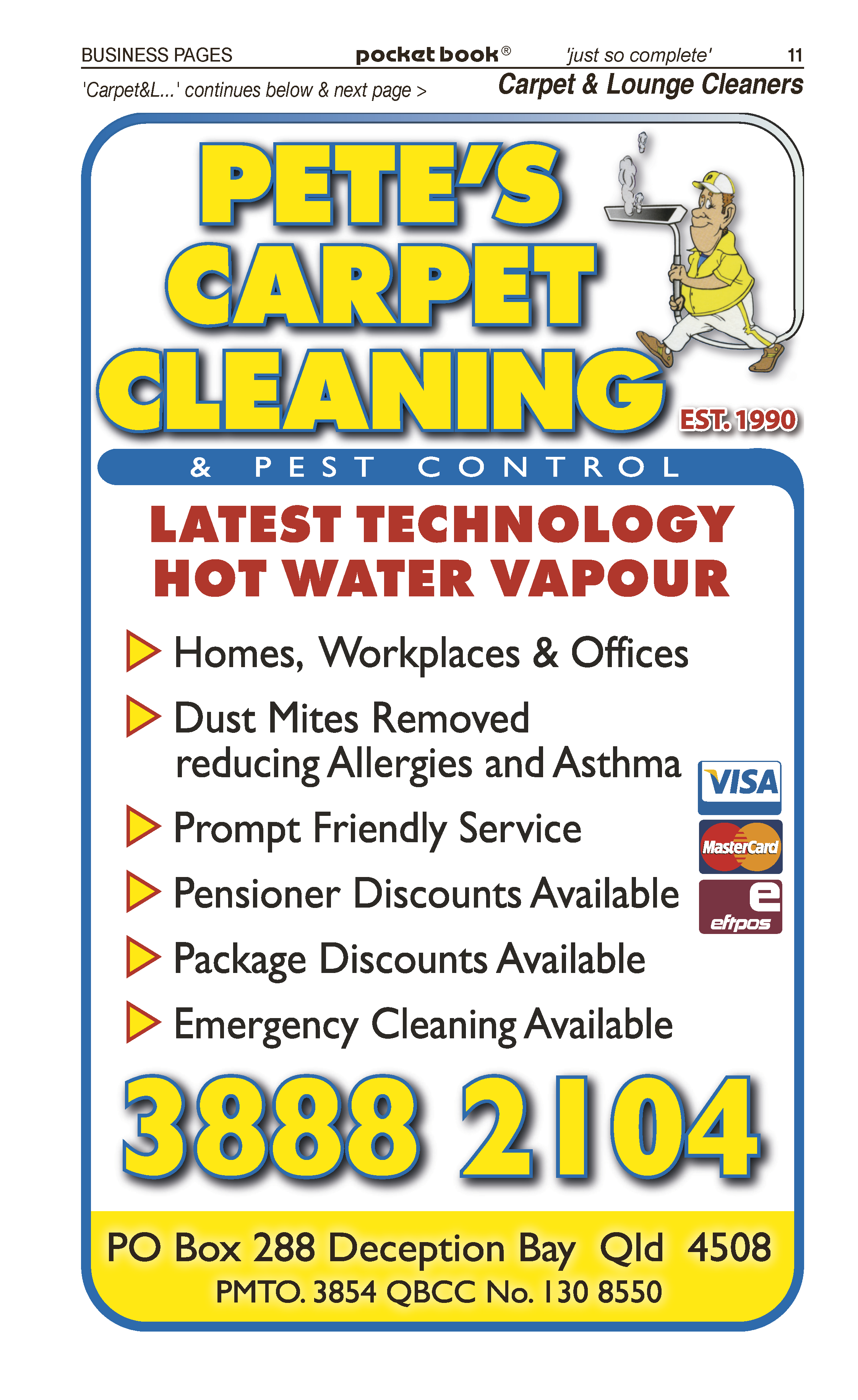 Pete's Carpet Cleaning & Pest Control | Upholstery Cleaners in Deception Bay | PBezy Pocket Books local directories - page 11