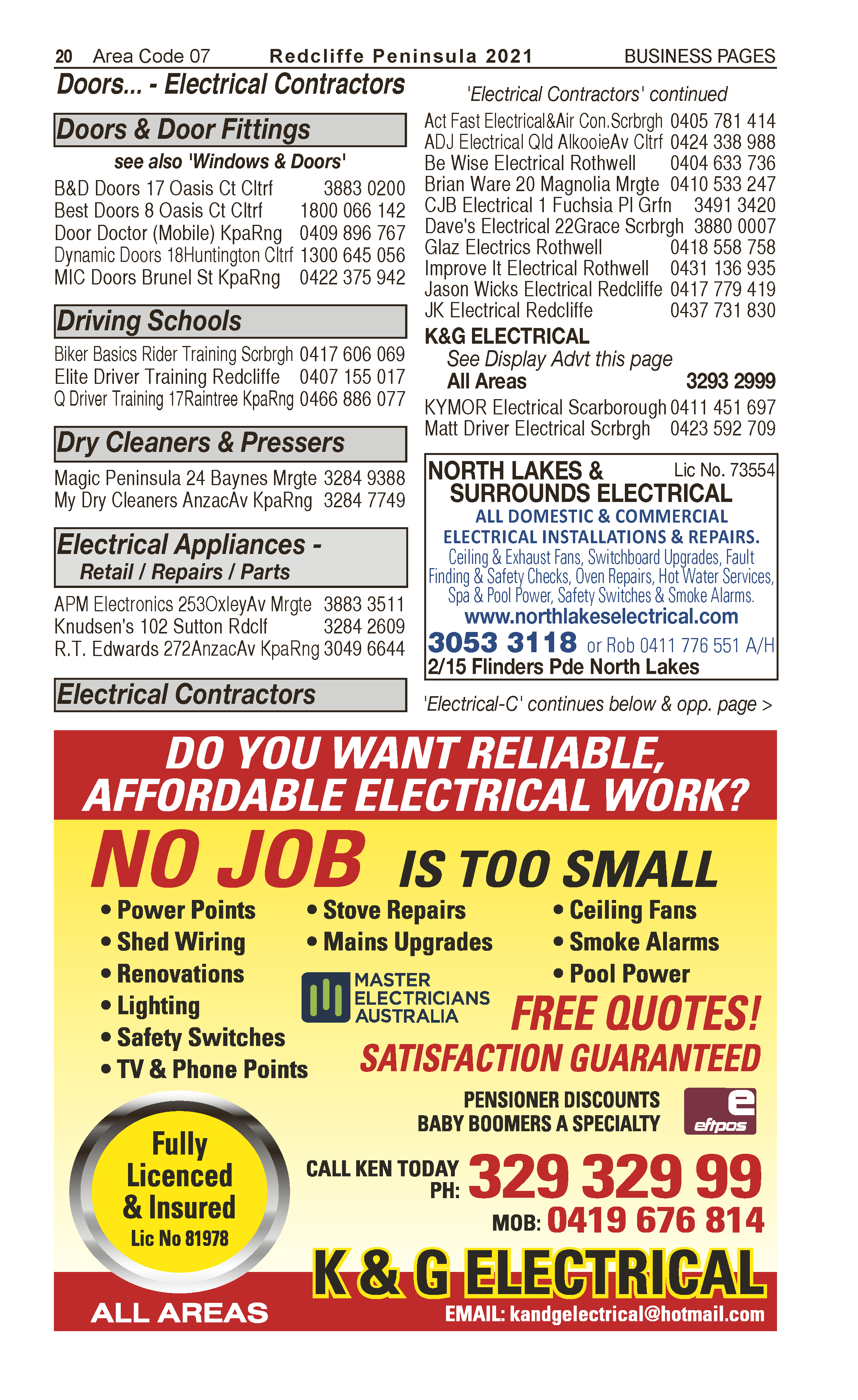 North Lakes & Surrounds Electrical | Electrical Contractors in North Lakes | PBezy Pocket Books local directories - page 20