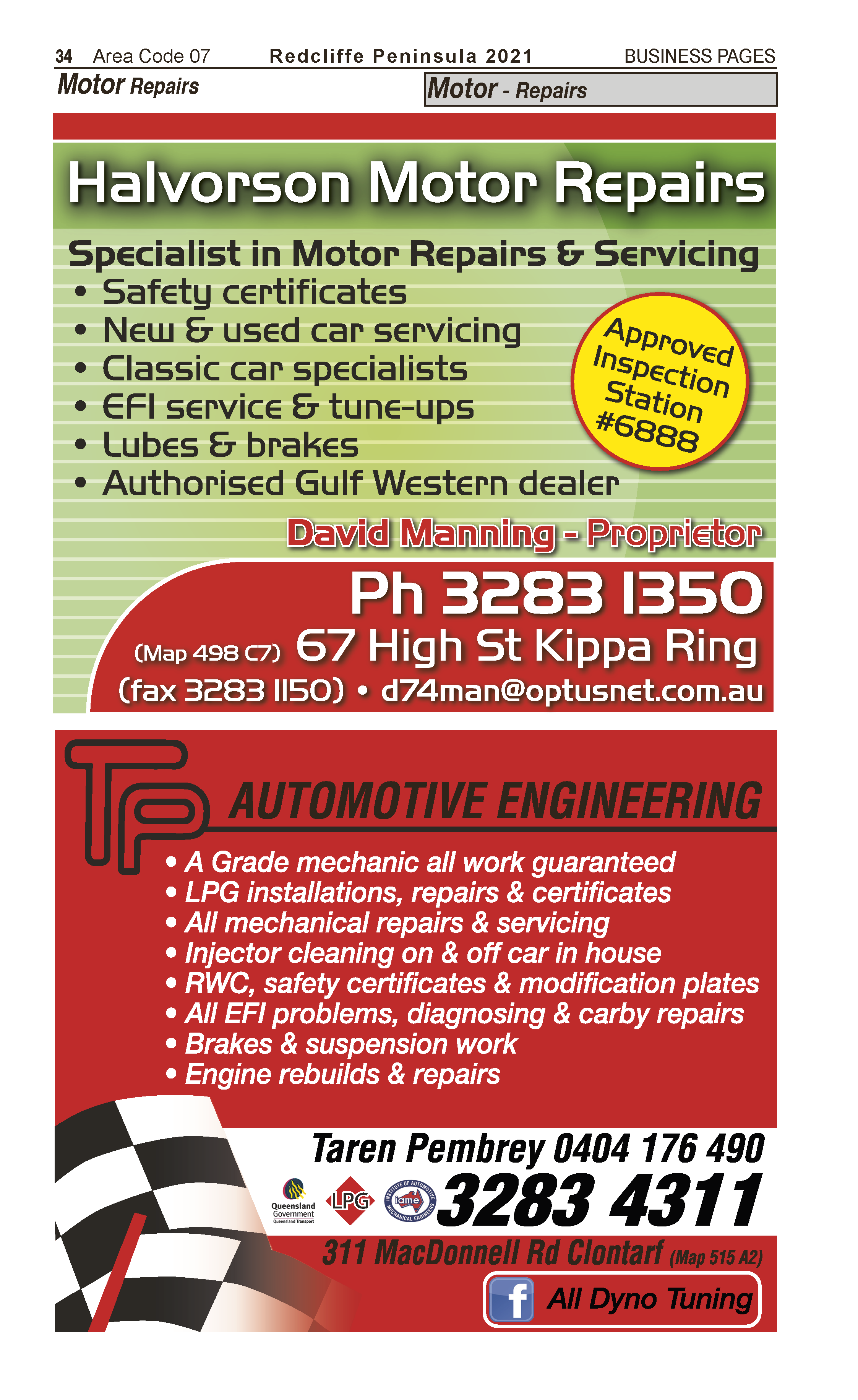 Halvorson Motor Repairs | Motor – Repairs in Kippa Ring | PBezy Pocket Books local directories - page 34