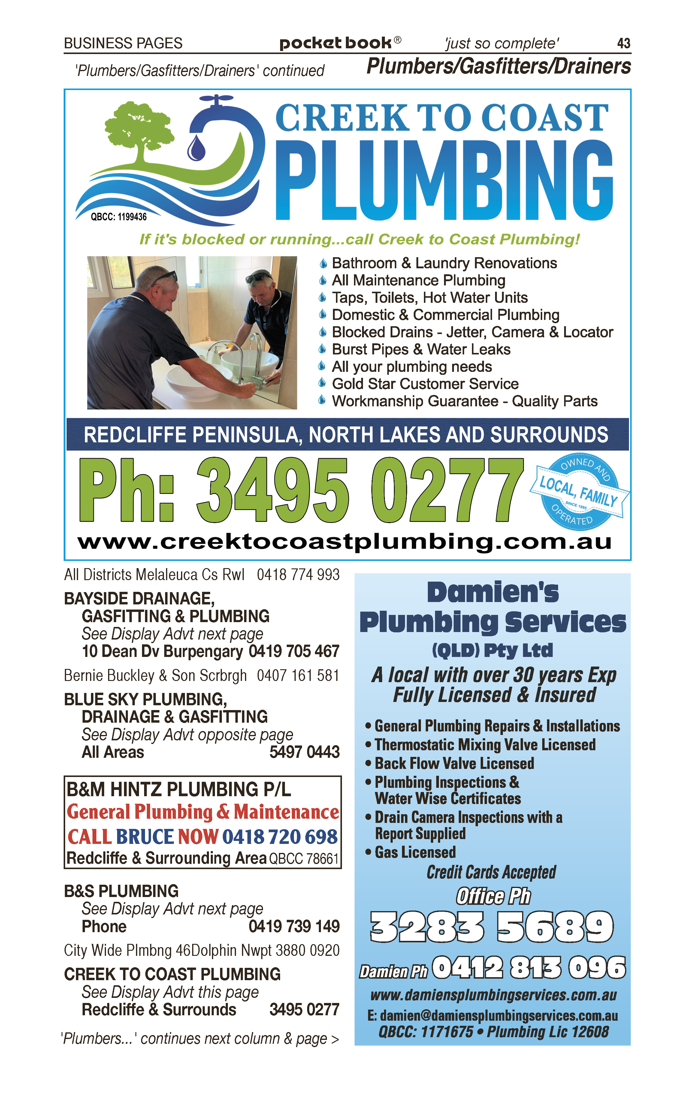 Jono's Plumbing Services Redcliffe | Gasfitters in Scarborough | PBezy Pocket Books local directories - page 43