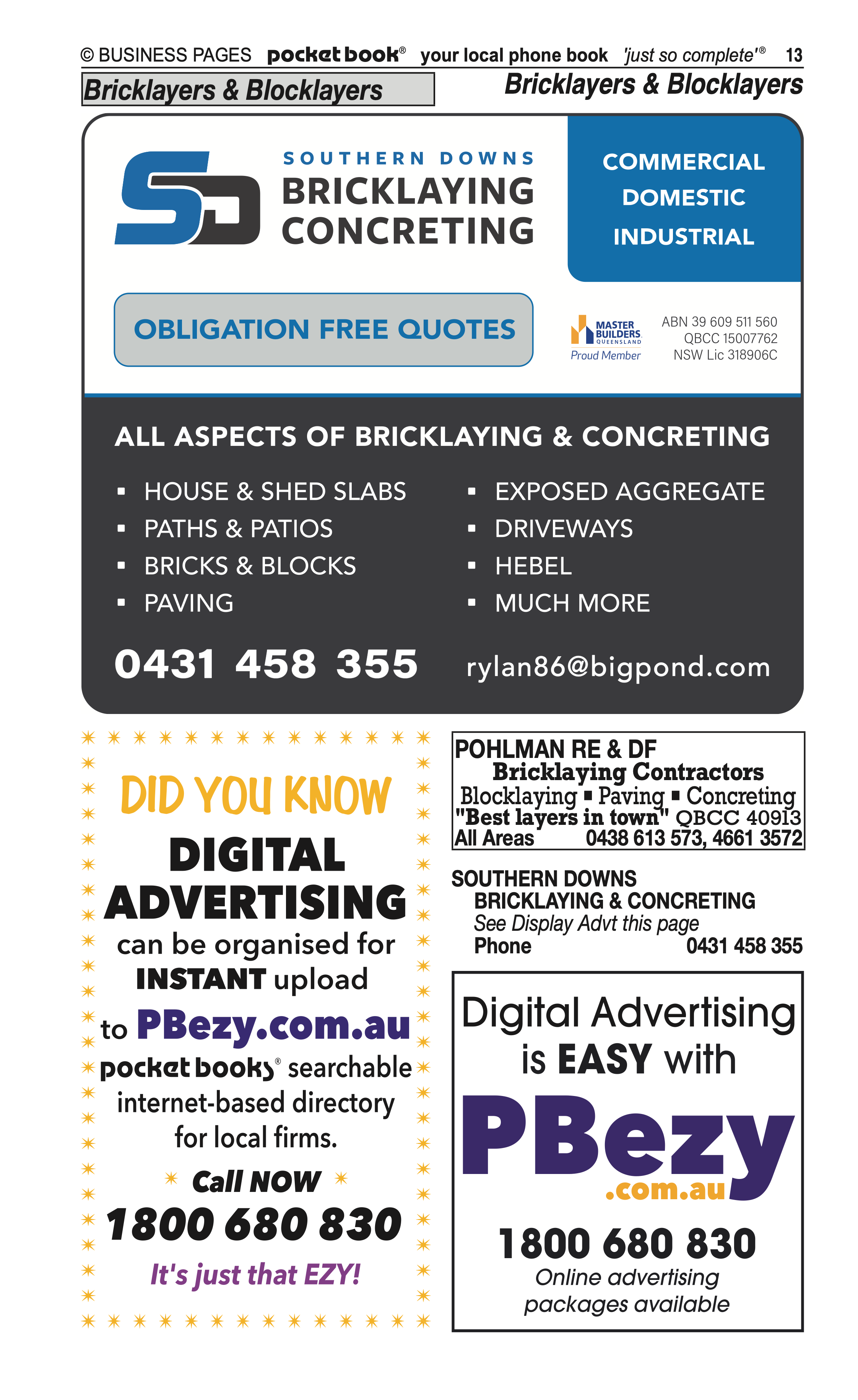Dwan Drilling & Water Services | Boring, Drilling in Allora | PBezy Pocket Books local directories - page 13