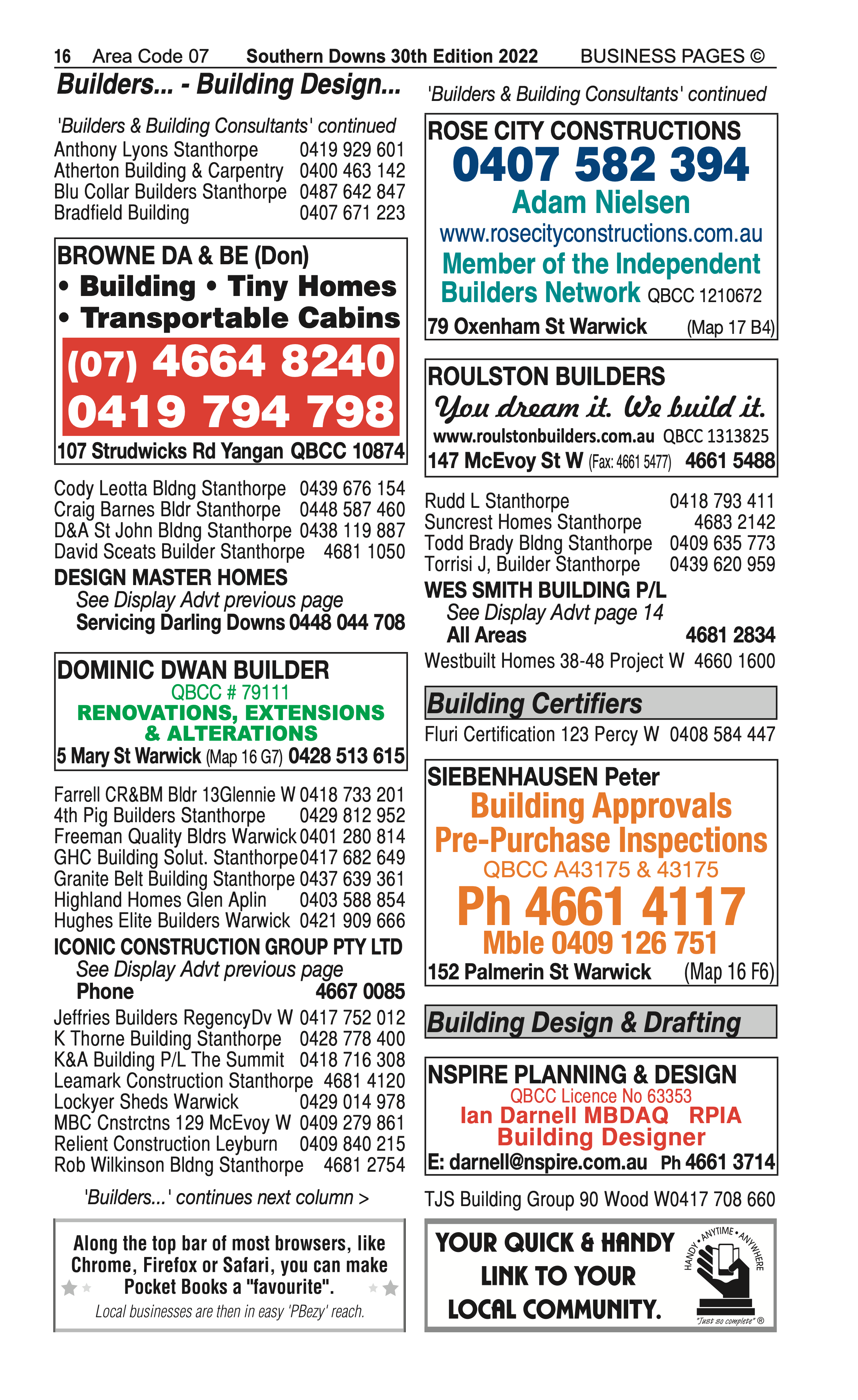Browne DA & BE (Don) | Builders & Building Consultants in Yangan | PBezy Pocket Books local directories - page 16