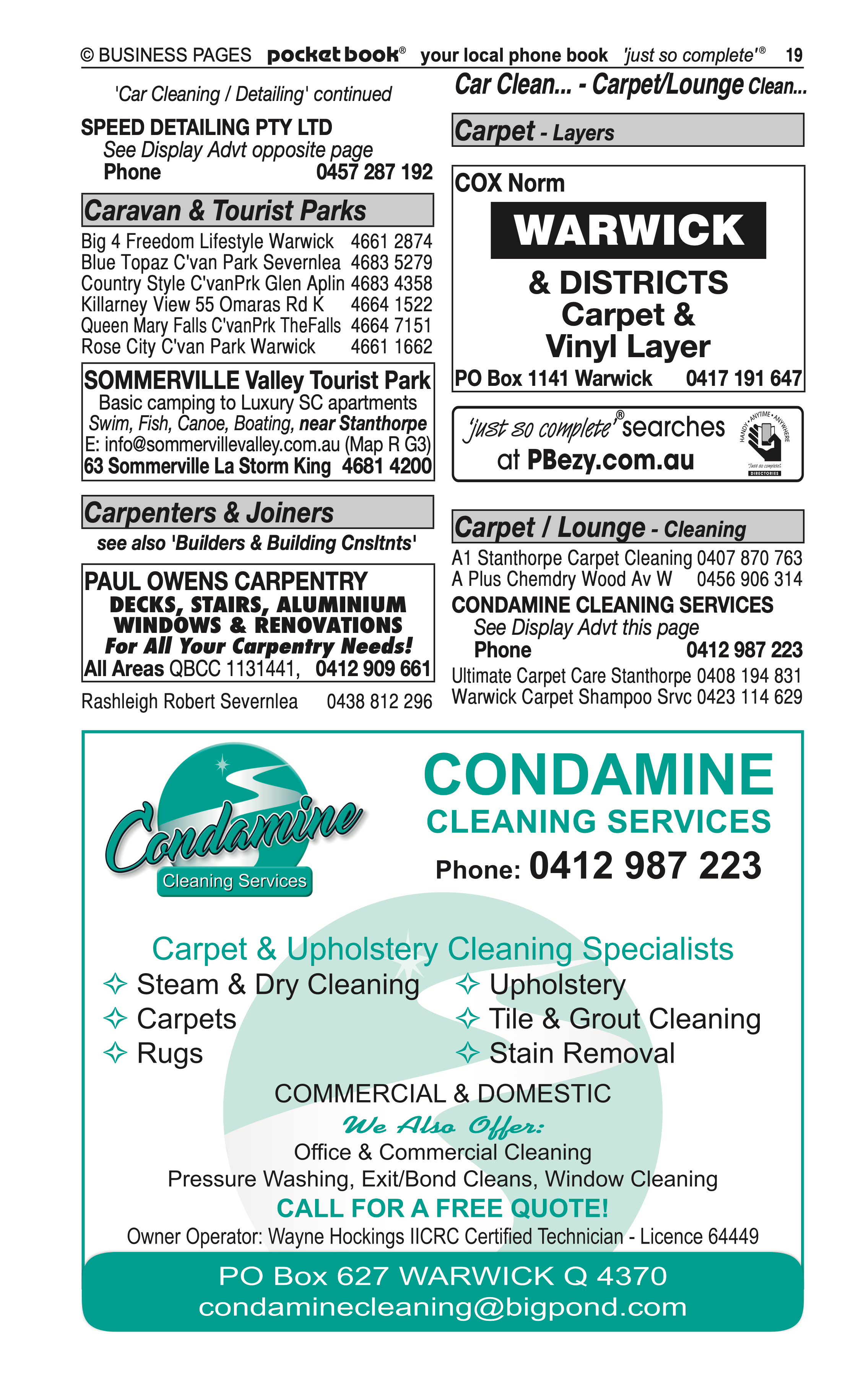 Speed Detailing Pty Ltd | Agricultural – Machinery & Services in Warwick | PBezy Pocket Books local directories - page 19