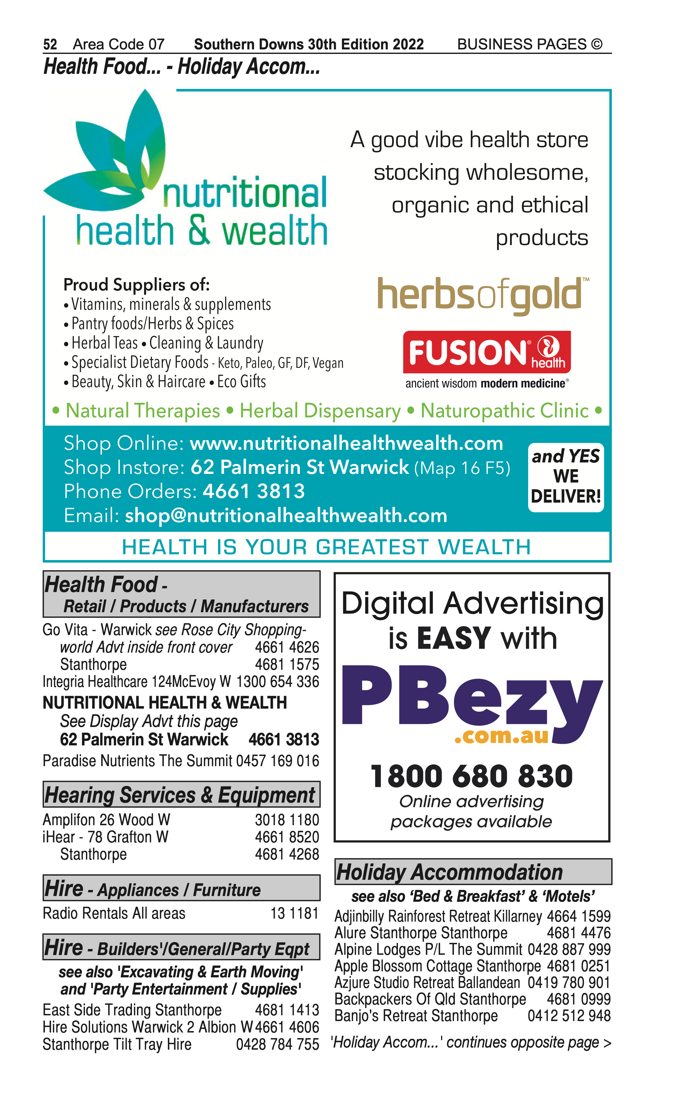 4 Water Supplies | Irrigation in Stanthorpe | PBezy Pocket Books local directories - page 52
