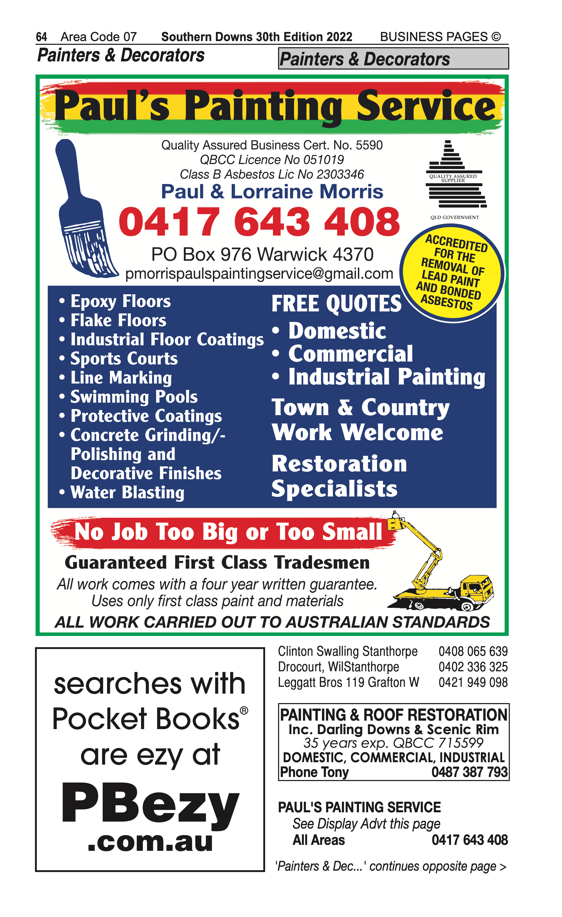 4 Water Supplies | Irrigation in Stanthorpe | PBezy Pocket Books local directories - page 64
