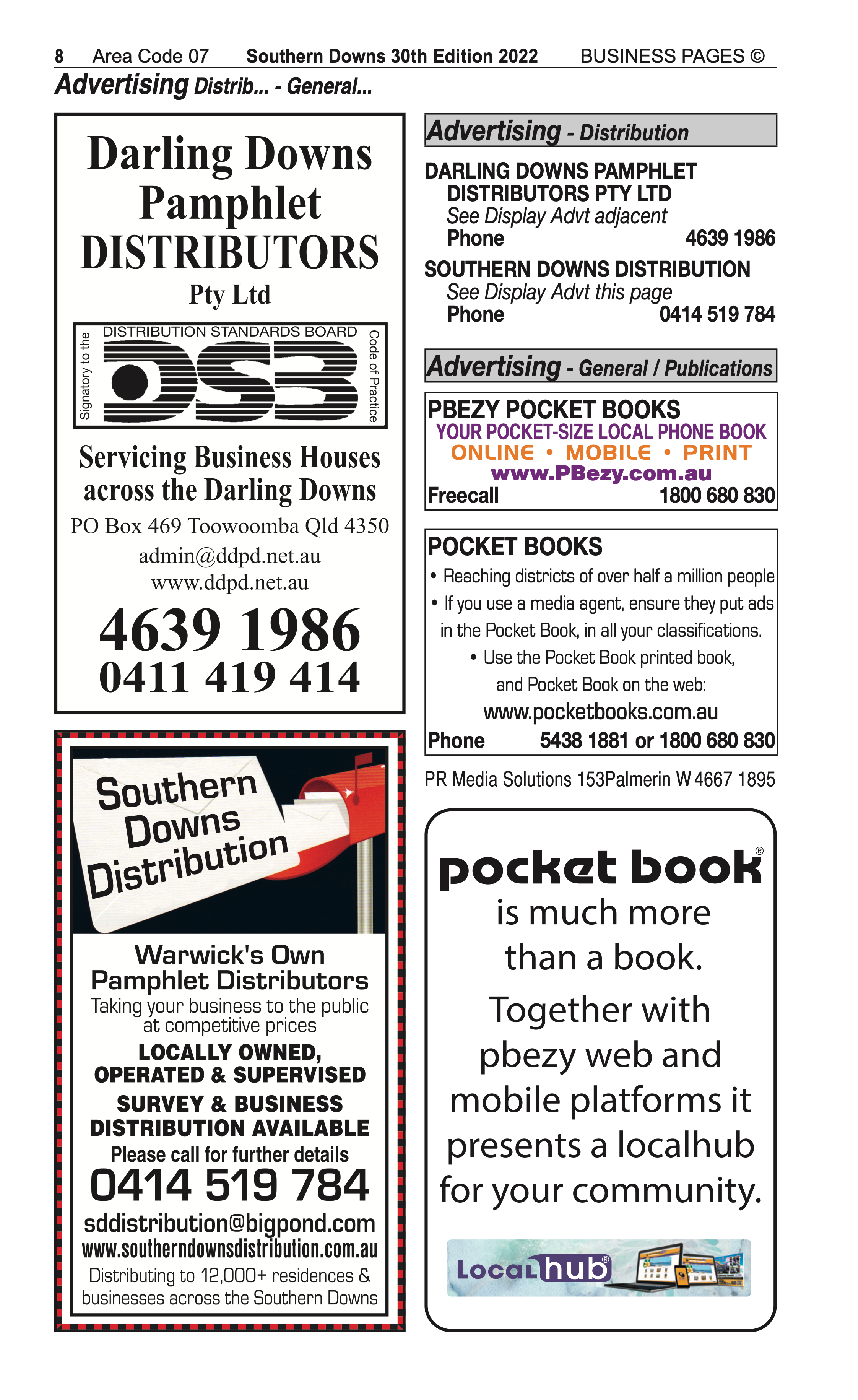 Darling Downs Pamphlet Distributors | Advertising Distribution in Toowoomba | PBezy Pocket Books local directories - page 8
