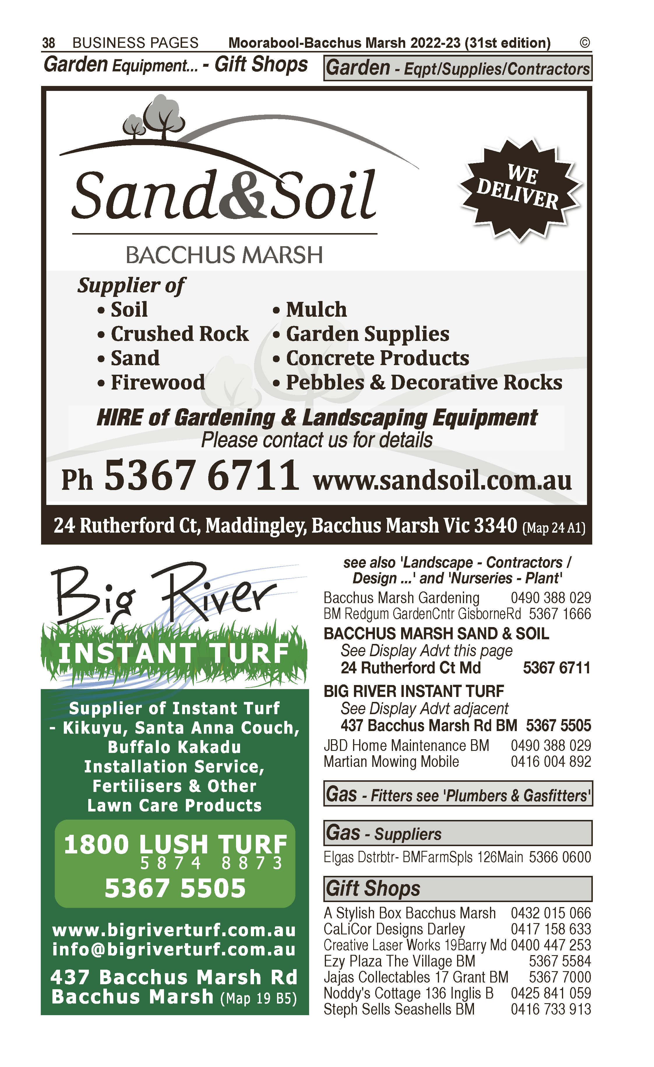 Big River Instant Turf | Garden – Contractors in Bacchus Marsh | PBezy Pocket Books local directories - page 38