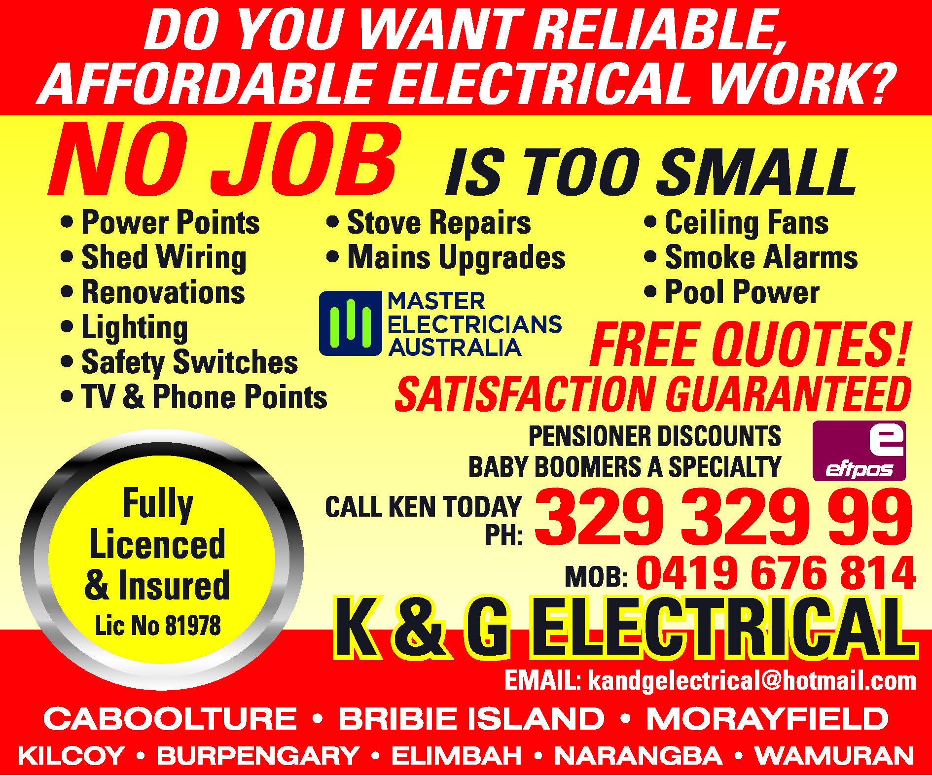 K & G Electrical - Electricians