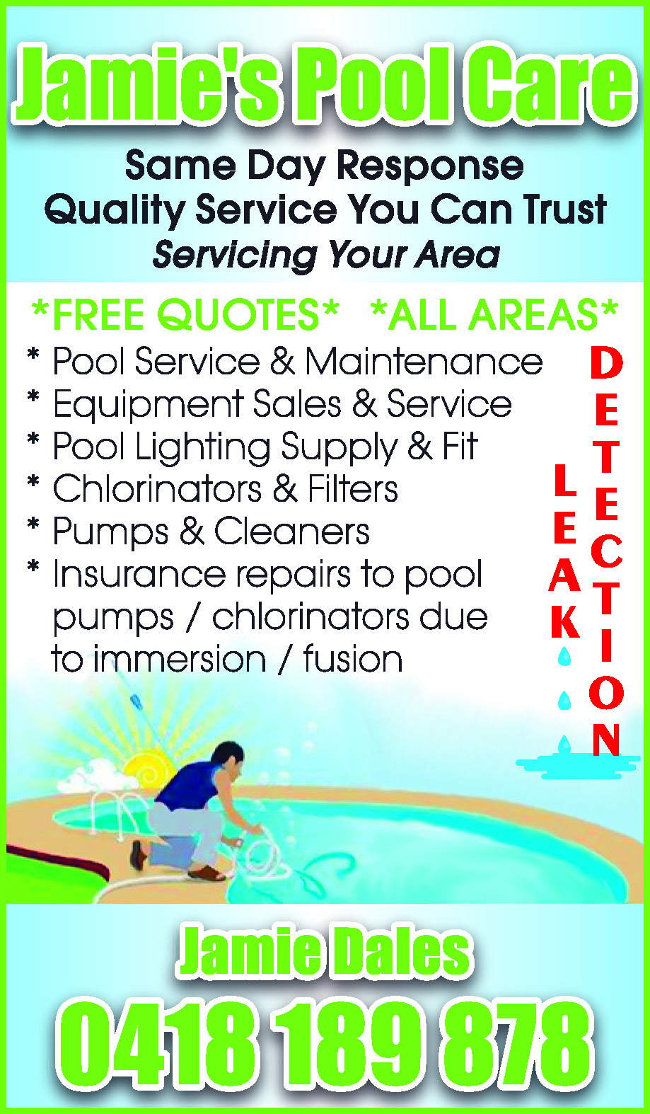 Jamie's Pool Care - Swimming Pools