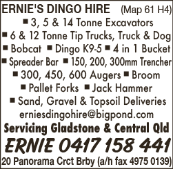Ernie's Dingo Hire - Excavating & Earth Moving Services