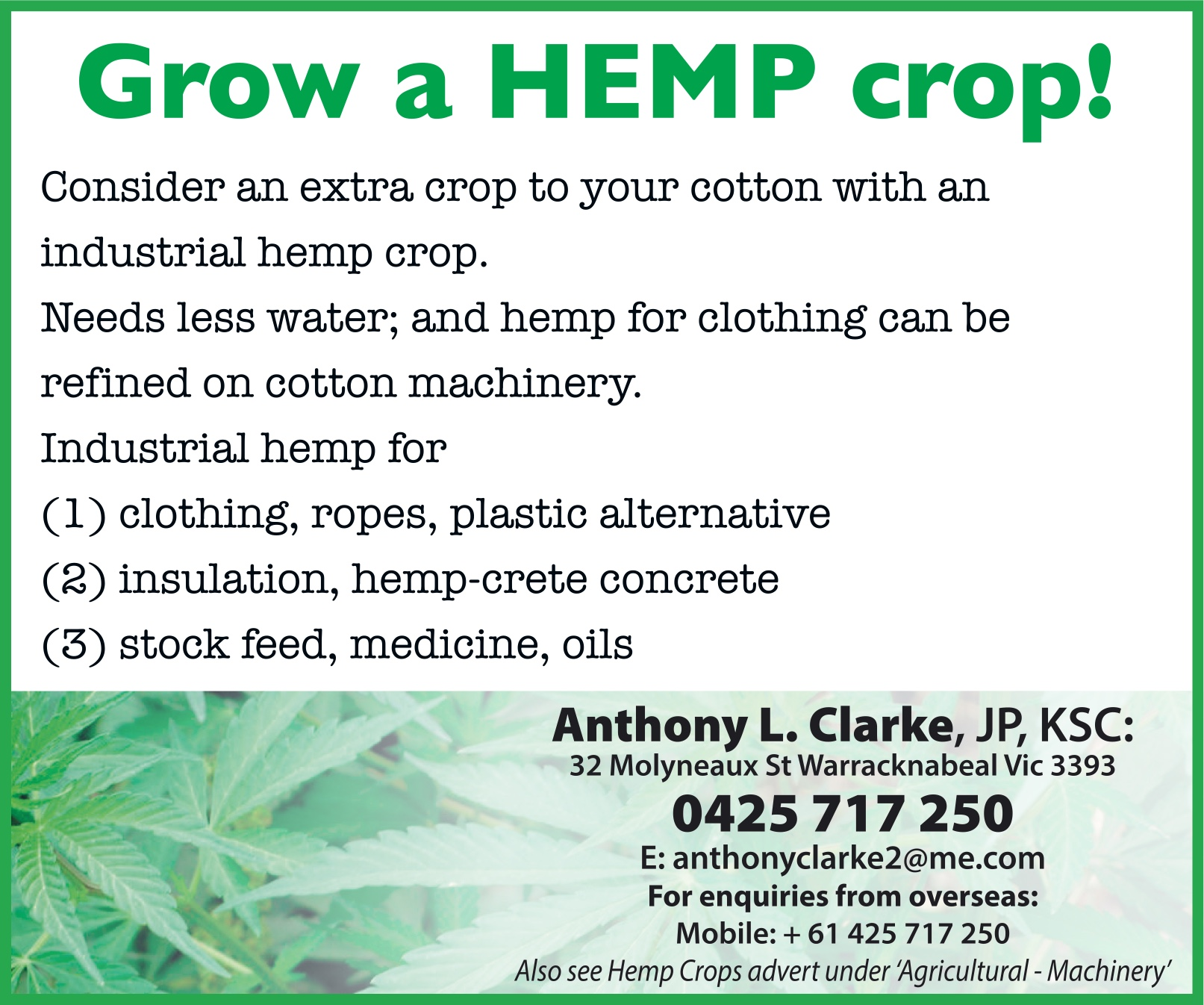 Hemp Crops - Agricultural