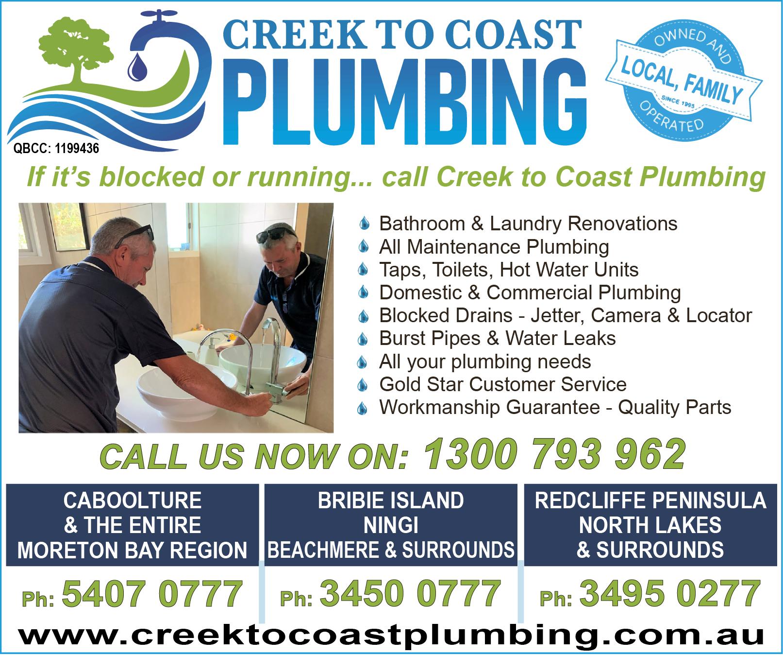 Creek To Coast Plumbing - advertisement