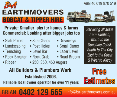 B&A Earthmovers - advertisement