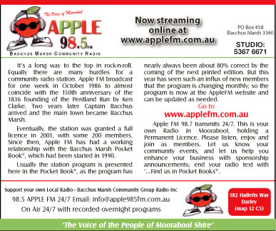 Bacchus Marsh Community Radio Group - advertisement