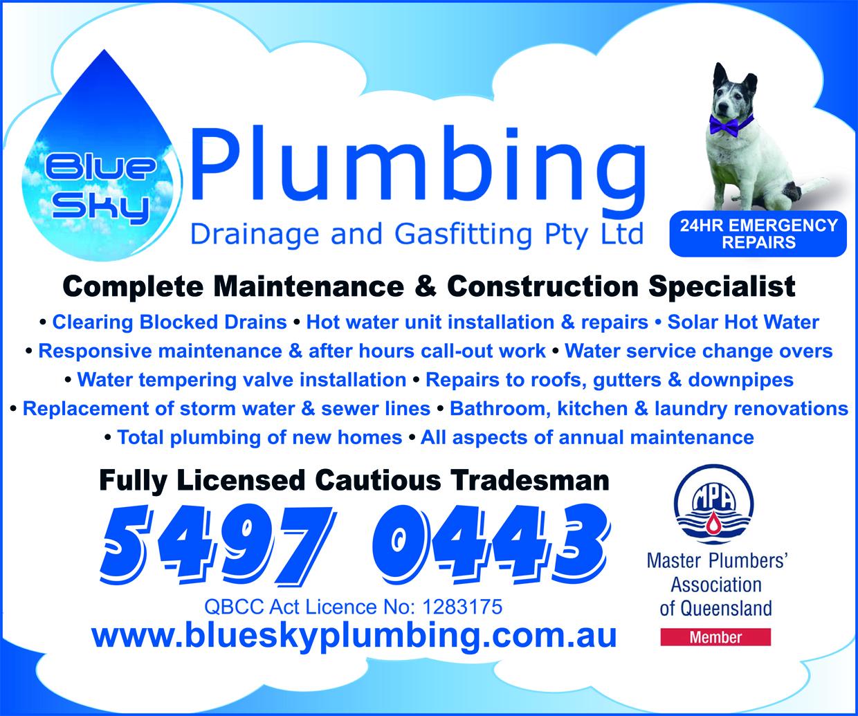 Blue Sky Plumbing Drainage & Gasfitting - advertisement