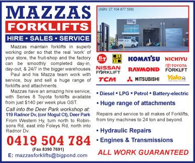 Mazzas Forklift Maintenance - advertisement