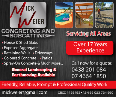 Mick Weier Concreting & Bobcatting - advertisement